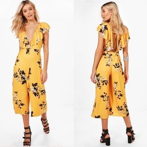 Boo Hoo Monica Ruffle Coulotte Jumpsuit in Mustard